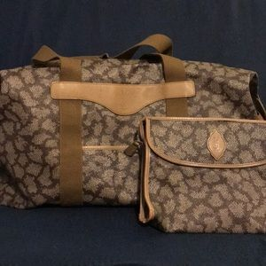 YSL abstract leopard clutch and weekender bundle